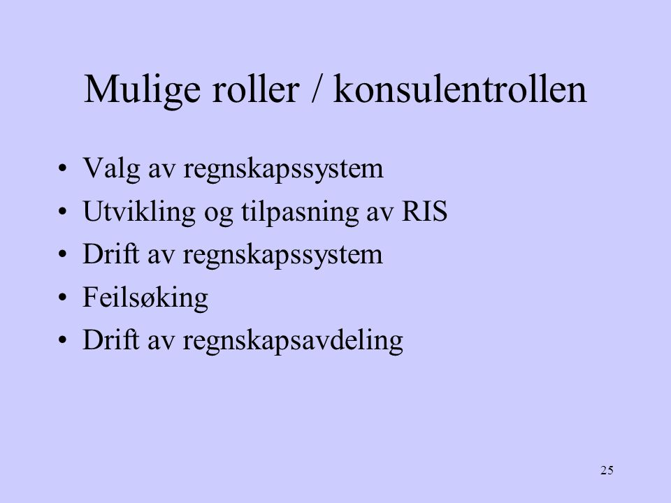 Mulige roller / konsulentrollen