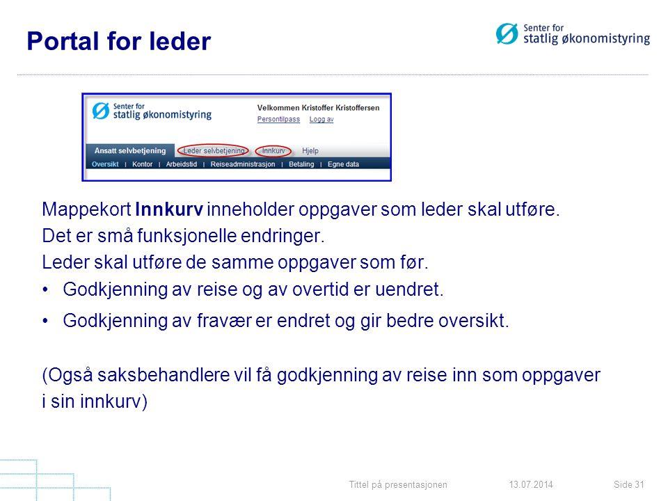Portal for leder Mappekort Innkurv inneholder oppgaver som leder skal utføre. Det er små funksjonelle endringer.