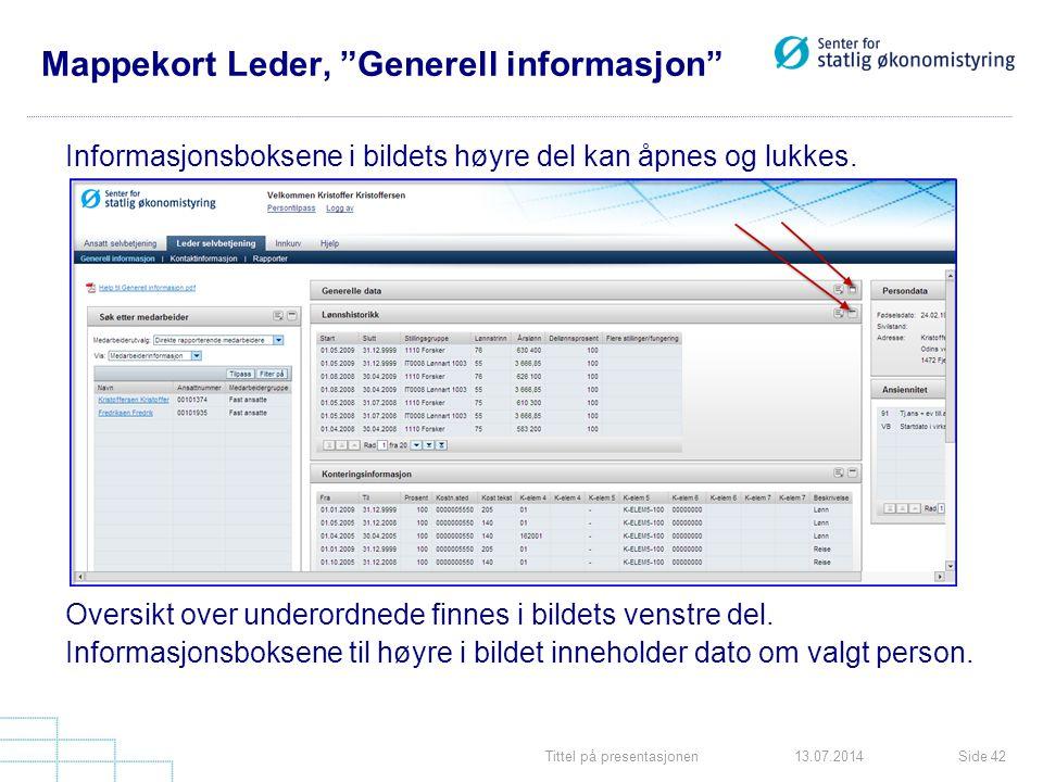 Mappekort Leder, Generell informasjon