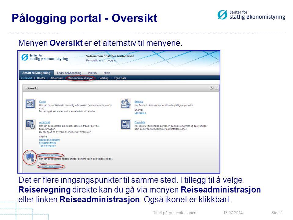 Pålogging portal - Oversikt