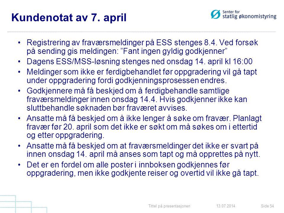 Kundenotat av 7. april Registrering av fraværsmeldinger på ESS stenges 8.4. Ved forsøk på sending gis meldingen: Fant ingen gyldig godkjenner
