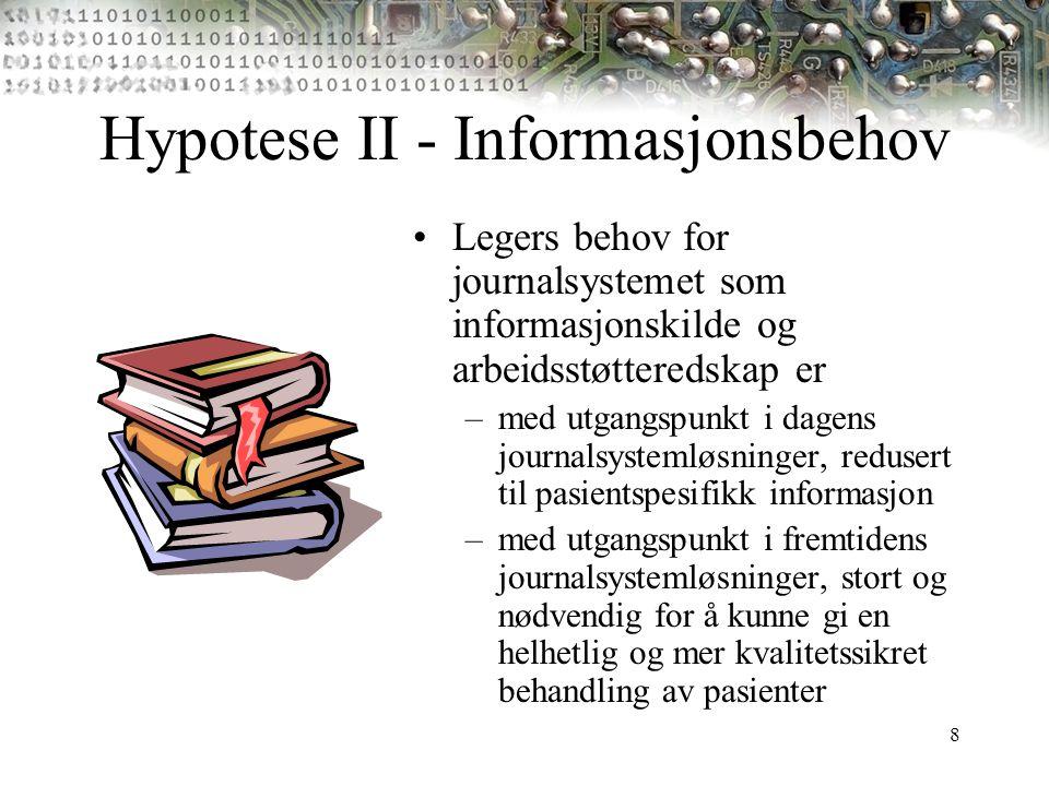 Hypotese II - Informasjonsbehov