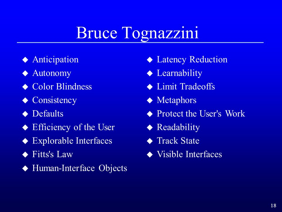 Bruce Tognazzini Anticipation Autonomy Color Blindness Consistency