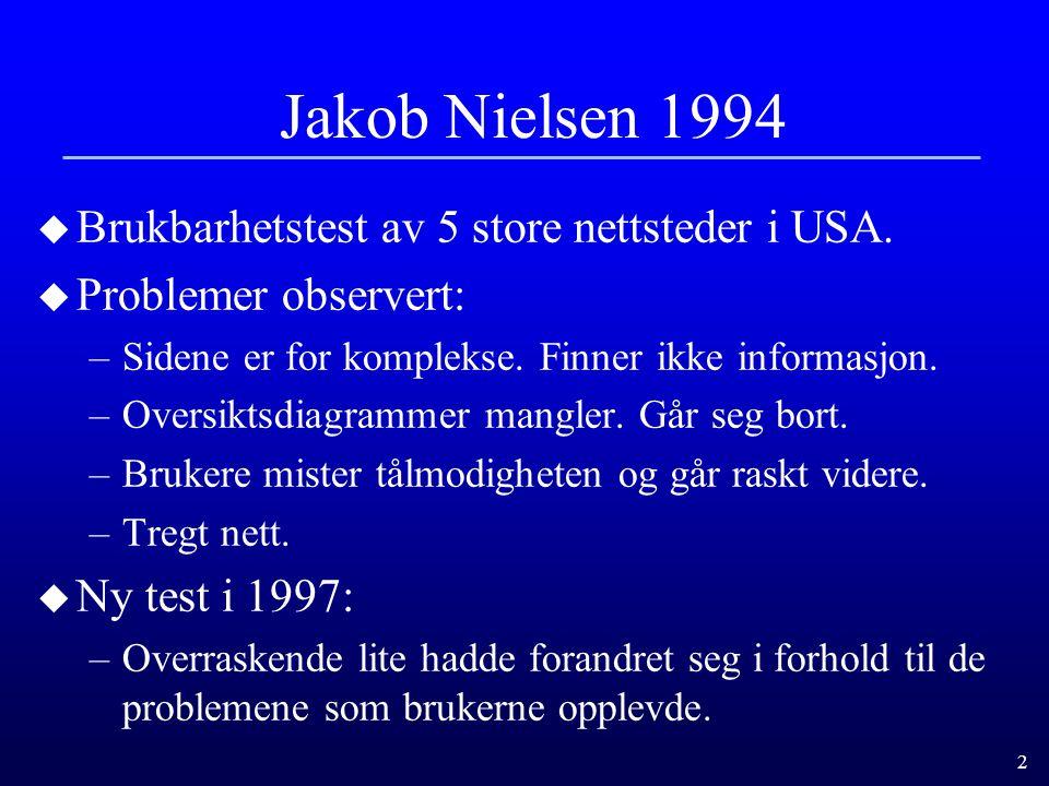 Jakob Nielsen 1994 Brukbarhetstest av 5 store nettsteder i USA.