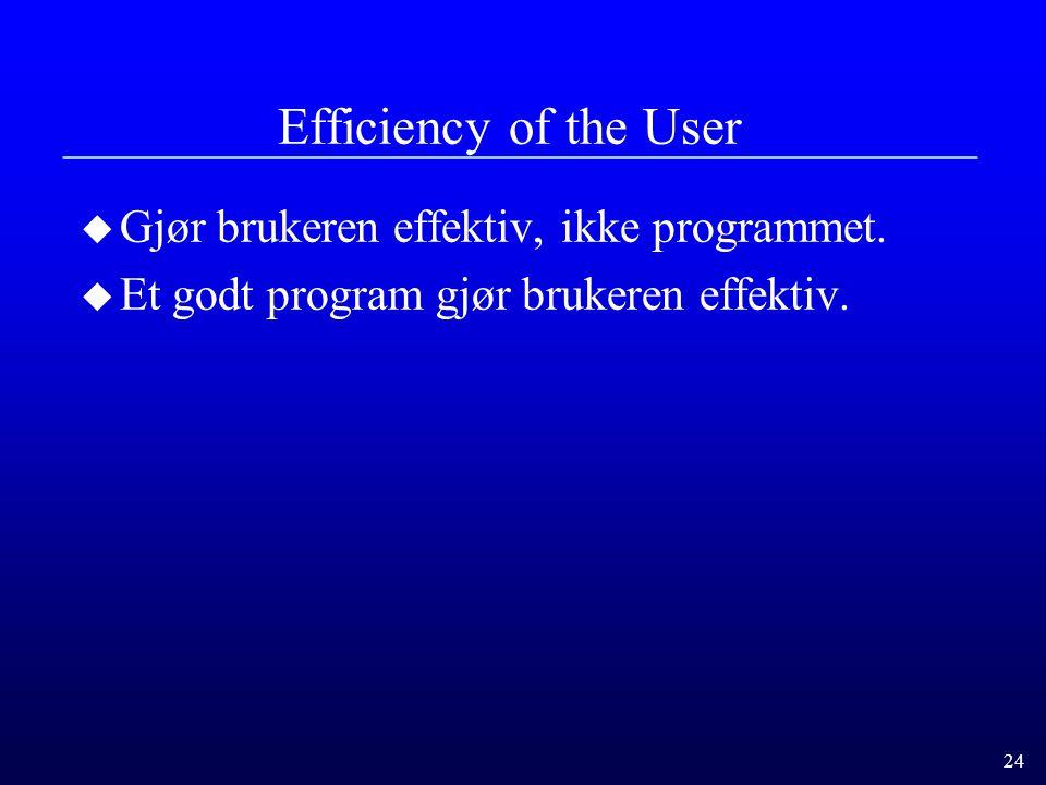 Efficiency of the User Gjør brukeren effektiv, ikke programmet.