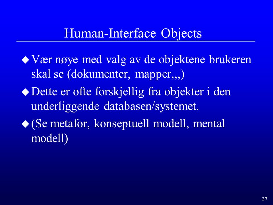 Human-Interface Objects