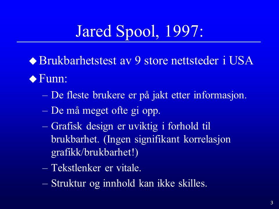 Jared Spool, 1997: Brukbarhetstest av 9 store nettsteder i USA Funn: