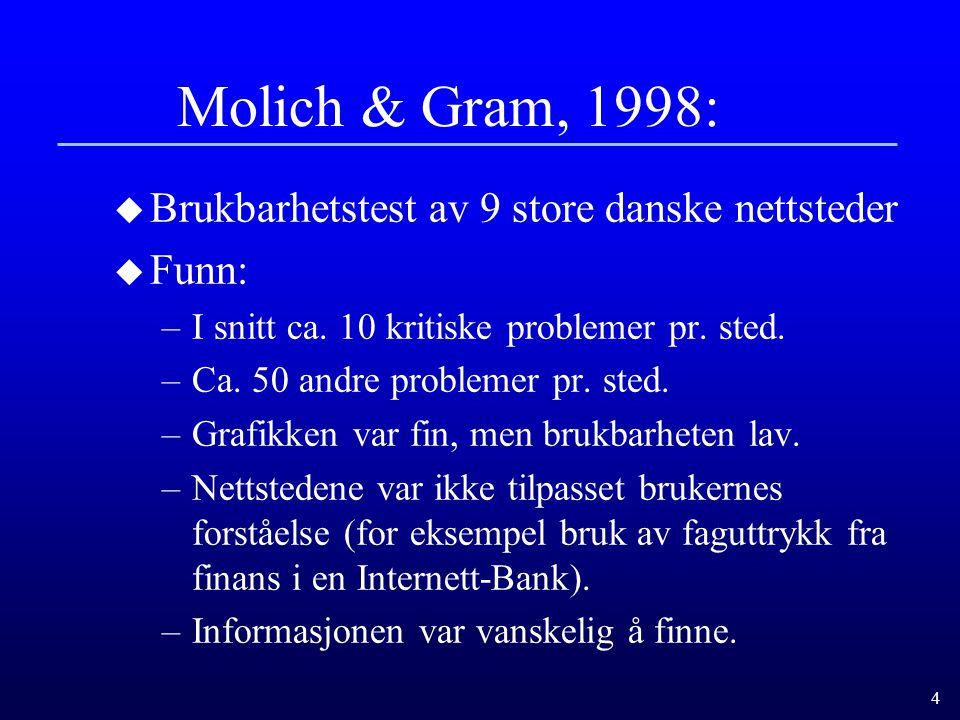 Molich & Gram, 1998: Brukbarhetstest av 9 store danske nettsteder