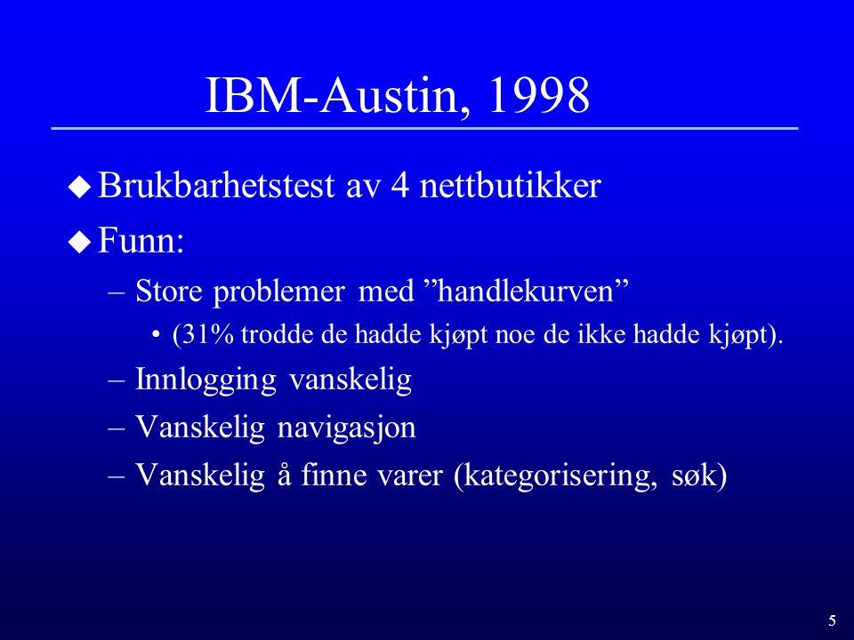 IBM-Austin, 1998 Brukbarhetstest av 4 nettbutikker Funn: