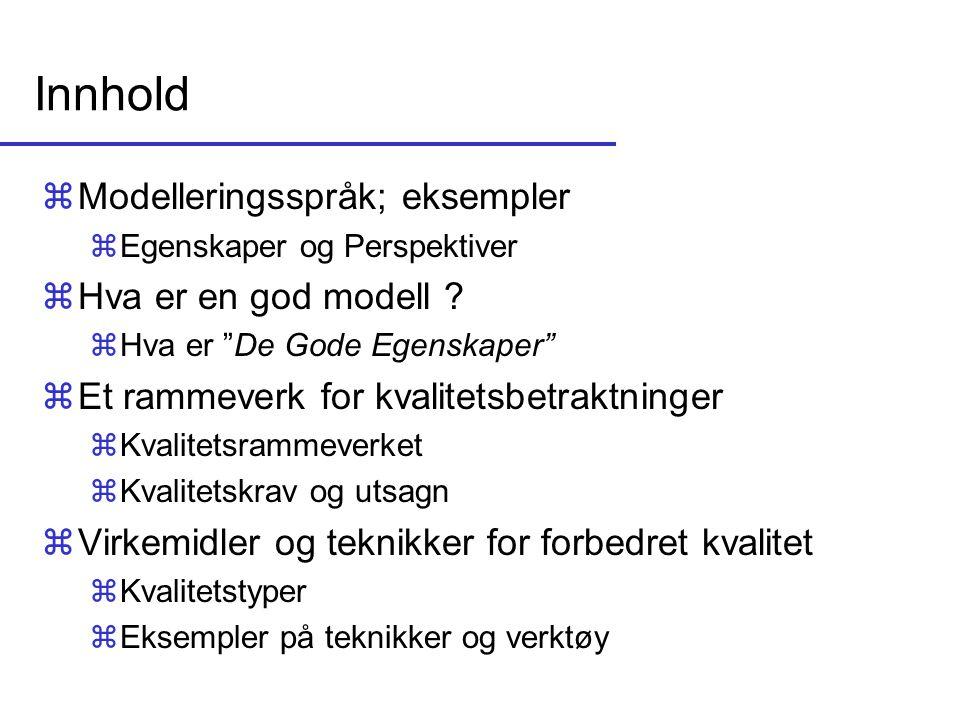 Innhold Modelleringsspråk; eksempler Hva er en god modell