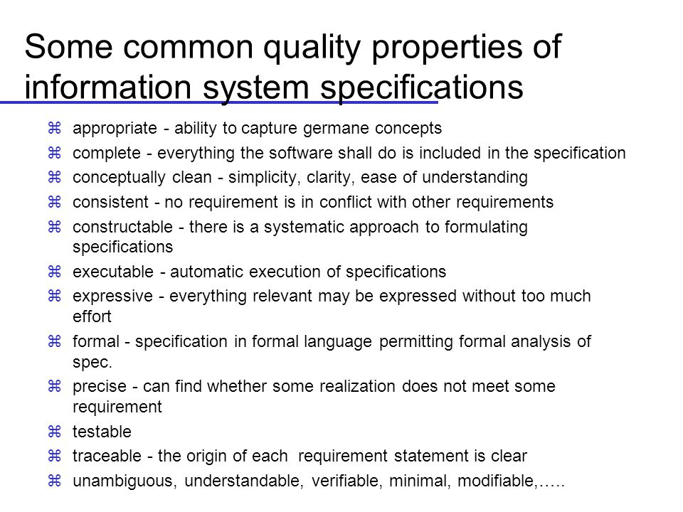 Some common quality properties of information system specifications