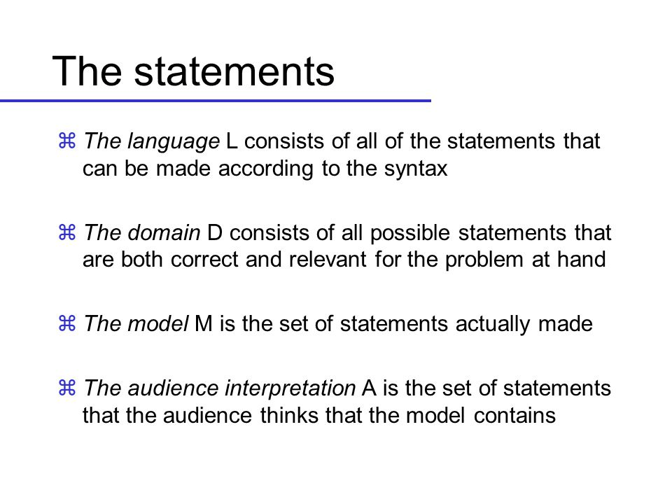 The statements The language L consists of all of the statements that can be made according to the syntax.