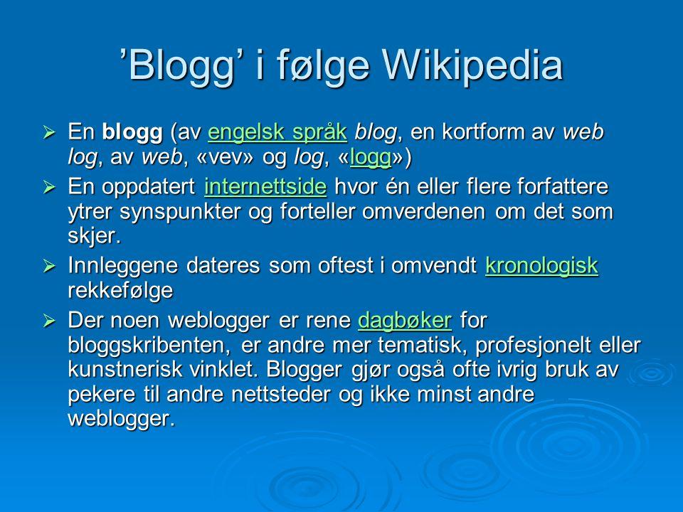 'Blogg' i følge Wikipedia