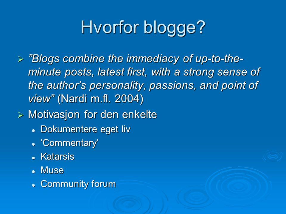 Hvorfor blogge