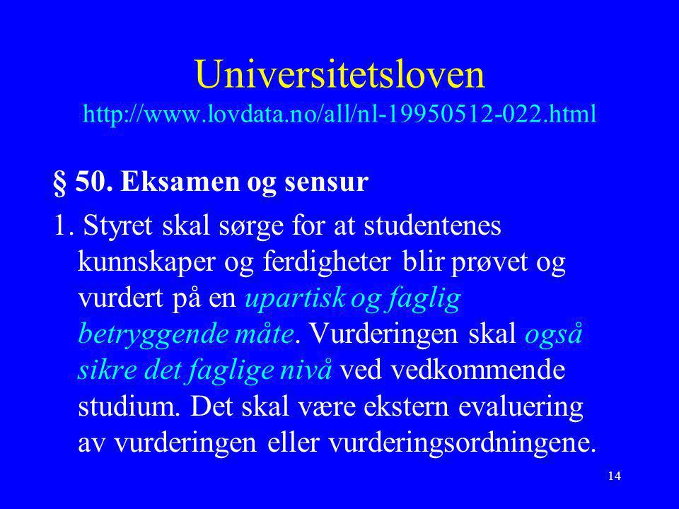 Universitetsloven http://www.lovdata.no/all/nl-19950512-022.html