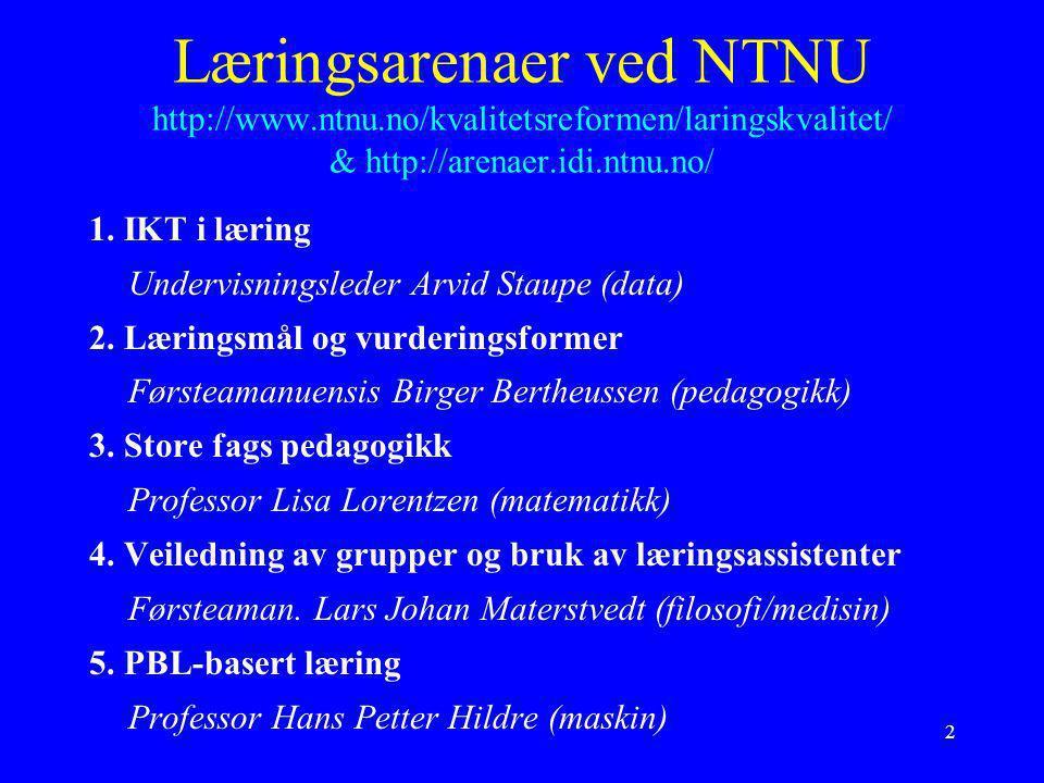 Læringsarenaer ved NTNU http://www. ntnu