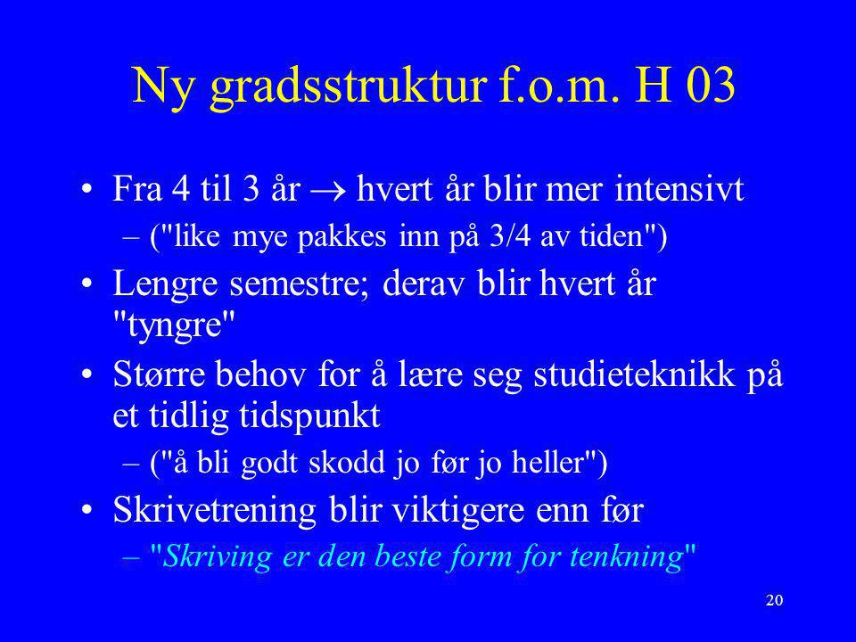 Ny gradsstruktur f.o.m. H 03 Fra 4 til 3 år  hvert år blir mer intensivt. ( like mye pakkes inn på 3/4 av tiden )