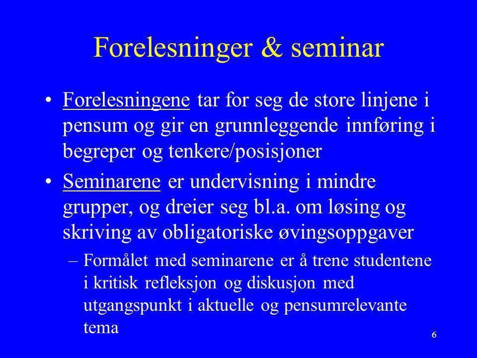 Forelesninger & seminar