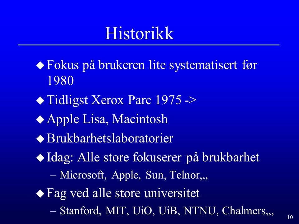 Historikk Fokus på brukeren lite systematisert før 1980