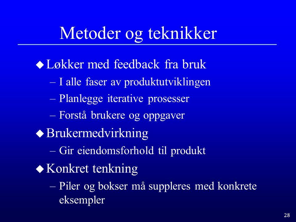 Metoder og teknikker Løkker med feedback fra bruk Brukermedvirkning