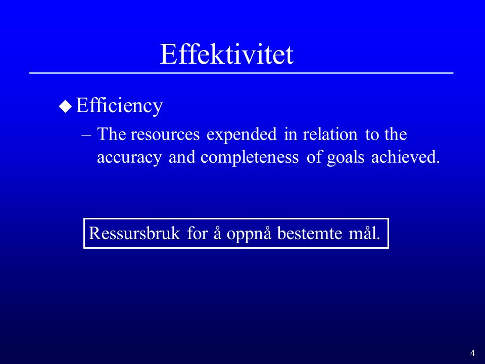 Effektivitet Efficiency