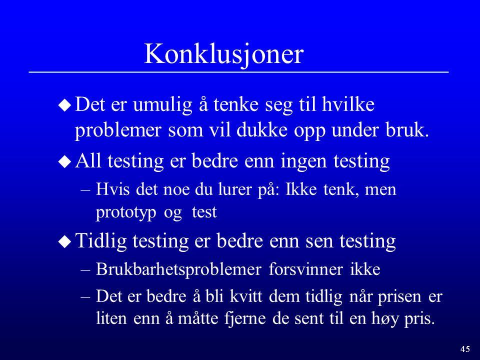 Konklusjoner Det er umulig å tenke seg til hvilke problemer som vil dukke opp under bruk. All testing er bedre enn ingen testing.