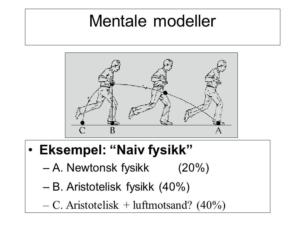 Mentale modeller Eksempel: Naiv fysikk A. Newtonsk fysikk (20%)