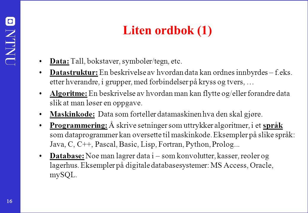 Liten ordbok (1) Data: Tall, bokstaver, symboler/tegn, etc.