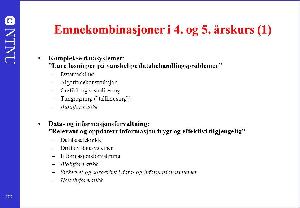 Emnekombinasjoner i 4. og 5. årskurs (1)