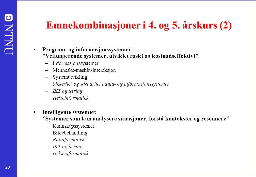 Emnekombinasjoner i 4. og 5. årskurs (2)