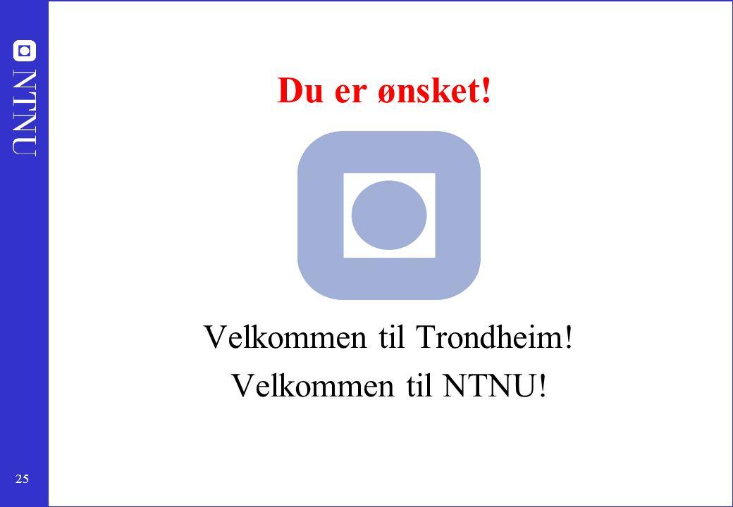 Velkommen til Trondheim! Velkommen til NTNU!