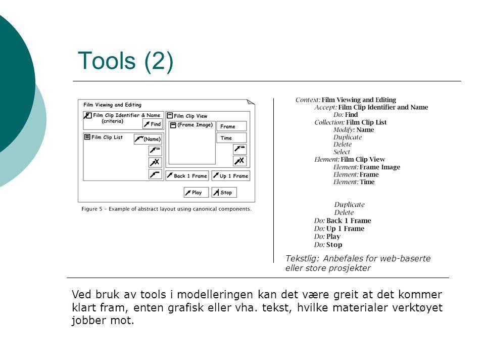 Tools (2) Slik det ser ut i praksis. Vanligvis er diagram til venstre mest brukbare. Til høyre : for store (eller web-baserte) prosjekter.
