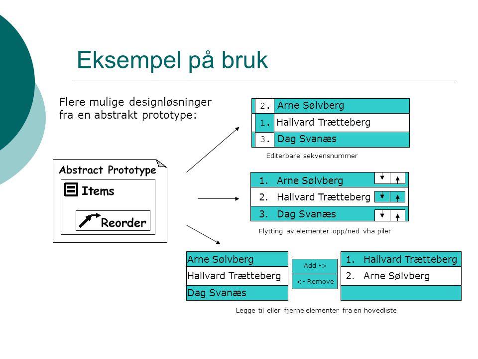 Eksempel på bruk Flere mulige designløsninger fra en abstrakt prototype: 2. Arne Sølvberg. 1. Hallvard Trætteberg.