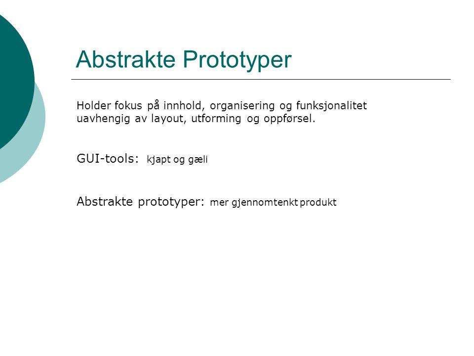Abstrakte Prototyper GUI-tools: kjapt og gæli