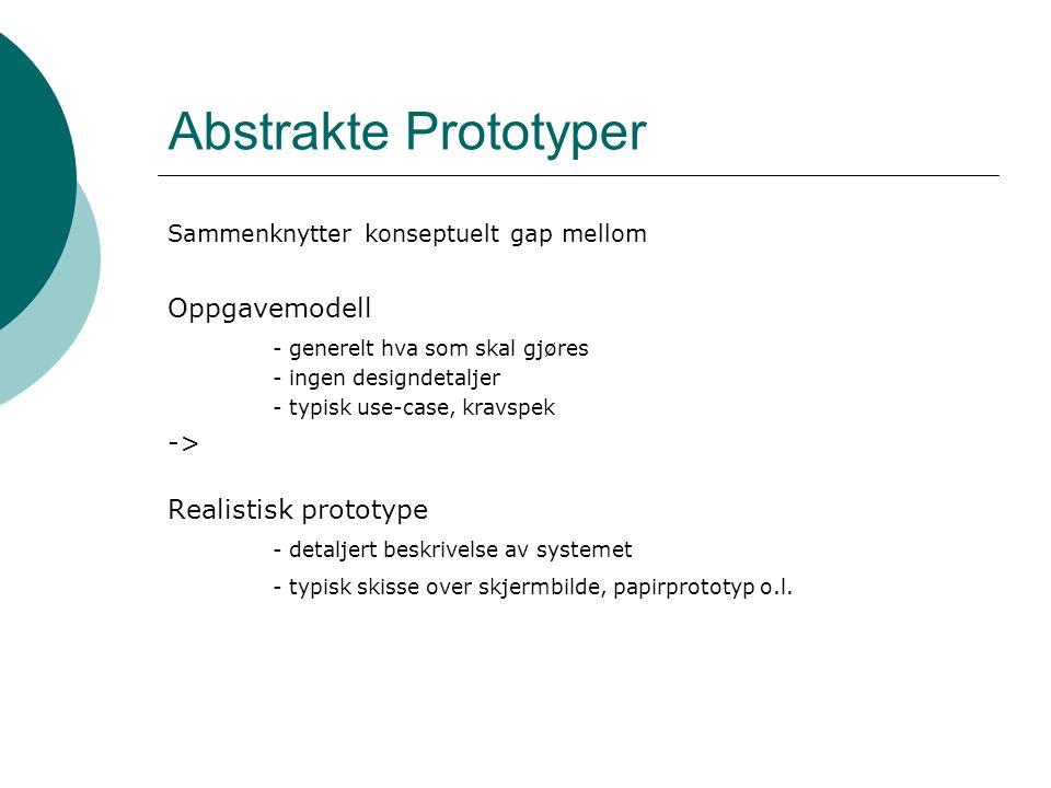 Abstrakte Prototyper Oppgavemodell - generelt hva som skal gjøres