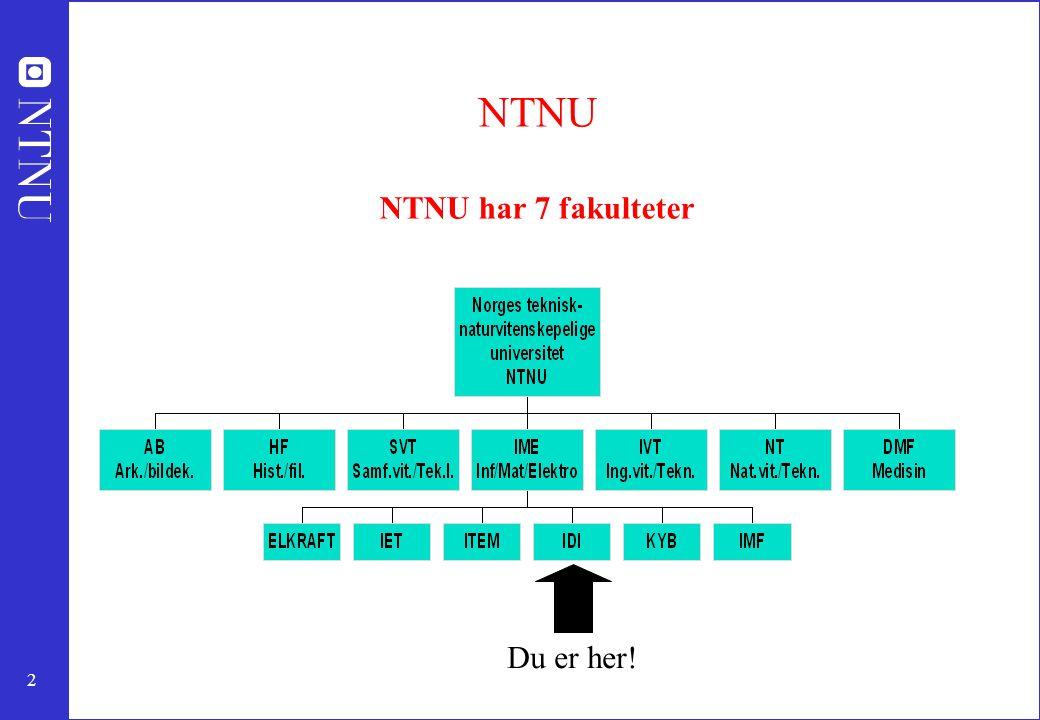 NTNU NTNU har 7 fakulteter
