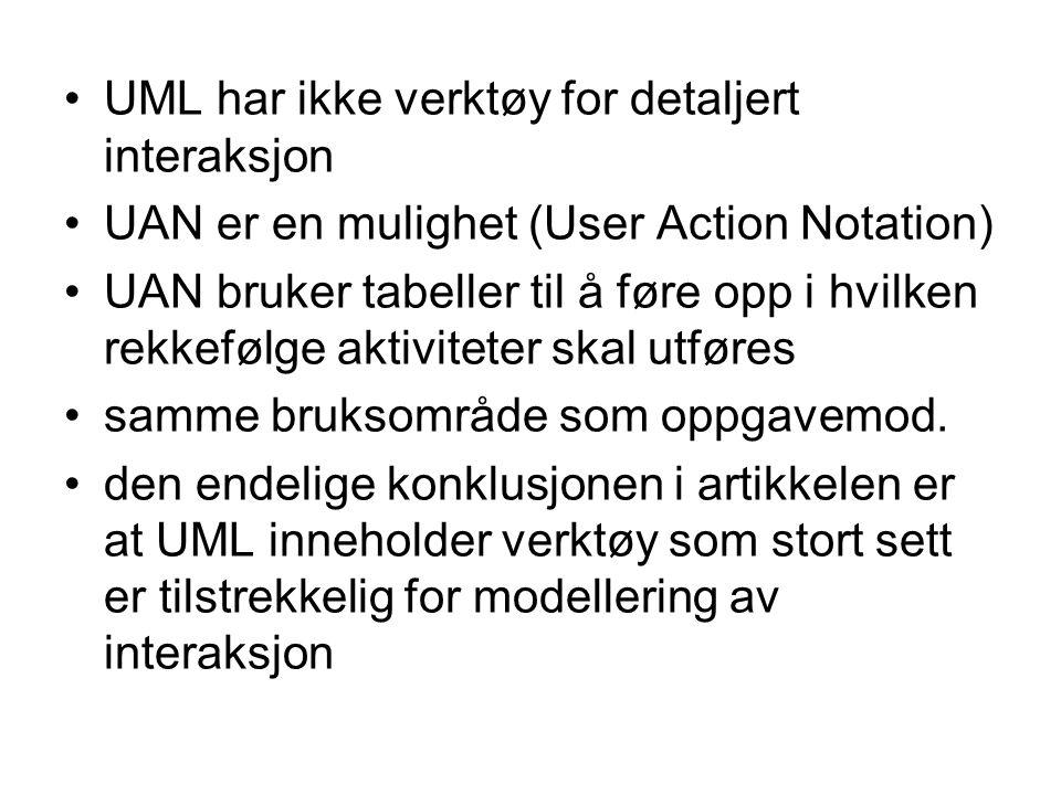 UML har ikke verktøy for detaljert interaksjon