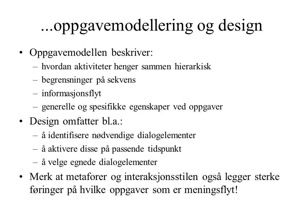...oppgavemodellering og design