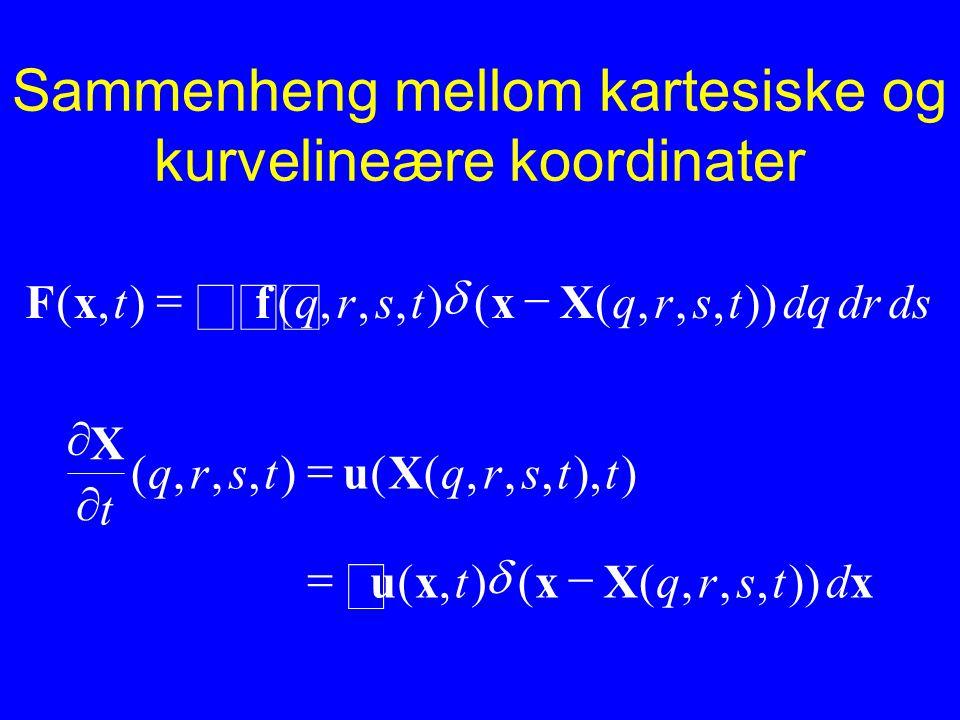 Sammenheng mellom kartesiske og kurvelineære koordinater