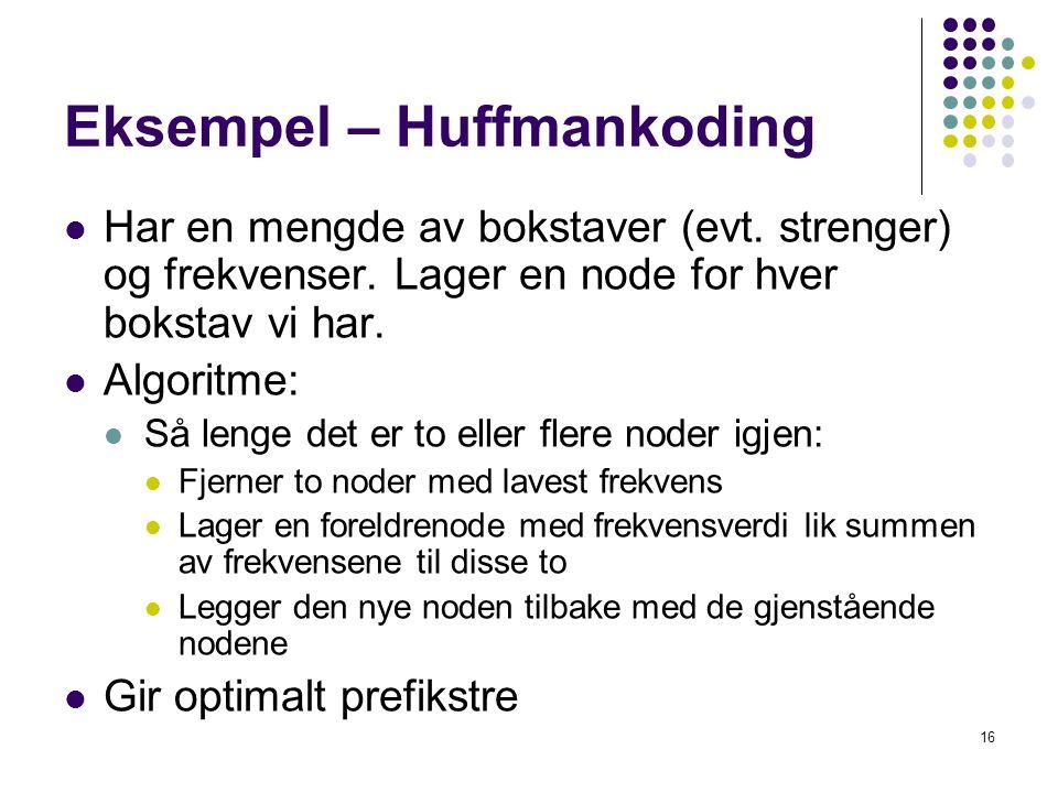 Eksempel – Huffmankoding