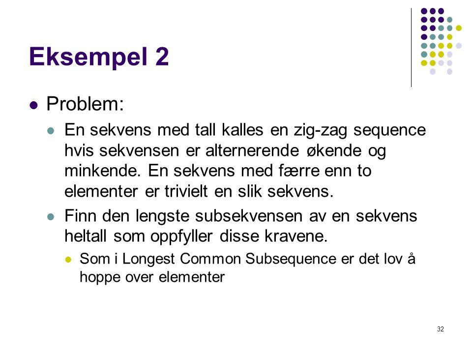 Eksempel 2 Problem: