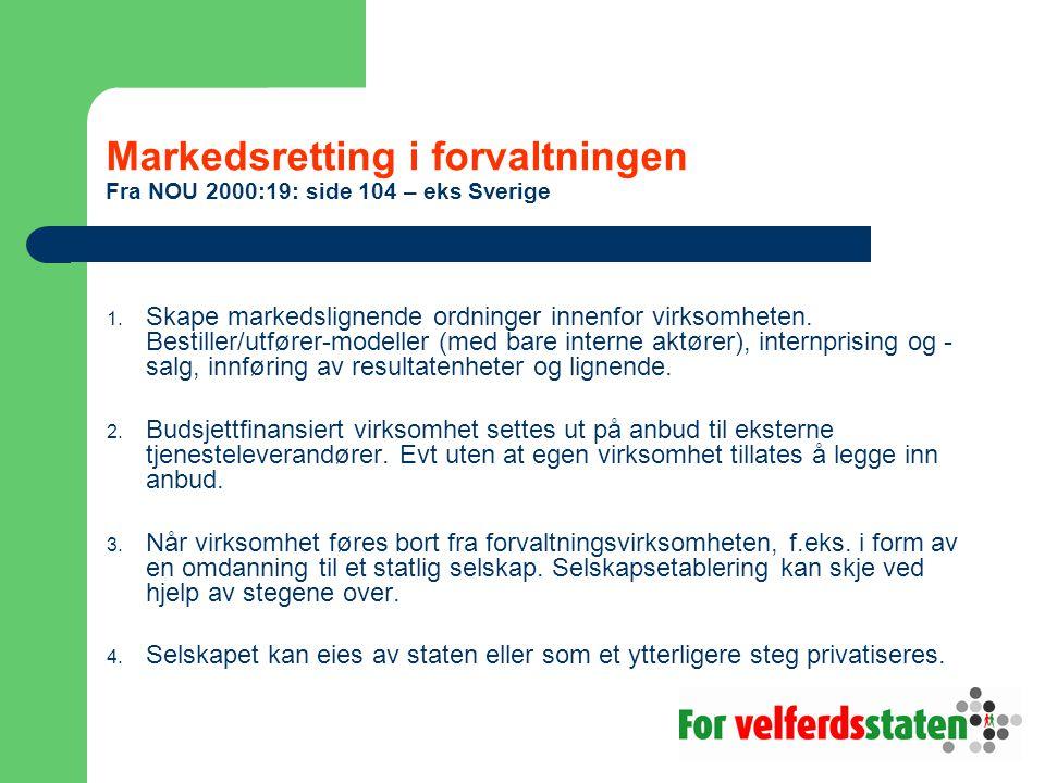 Markedsretting i forvaltningen Fra NOU 2000:19: side 104 – eks Sverige