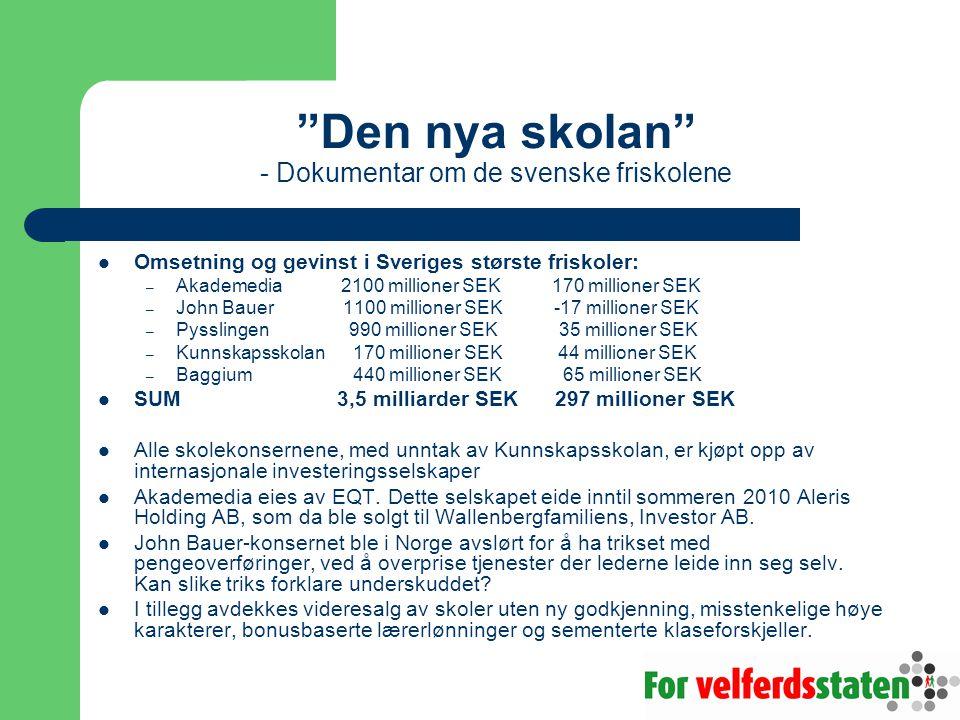 Den nya skolan - Dokumentar om de svenske friskolene