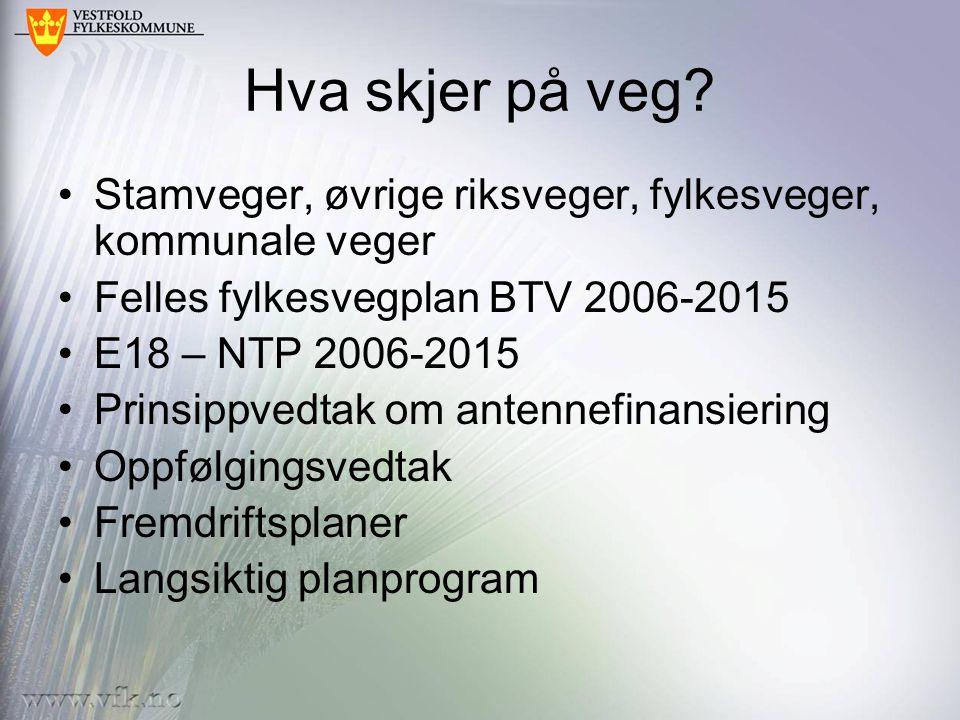 Hva skjer på veg Stamveger, øvrige riksveger, fylkesveger, kommunale veger. Felles fylkesvegplan BTV 2006-2015.