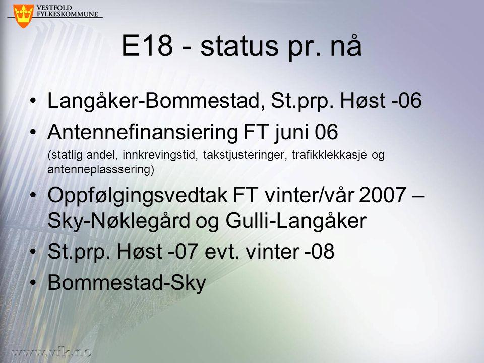 E18 - status pr. nå Langåker-Bommestad, St.prp. Høst -06