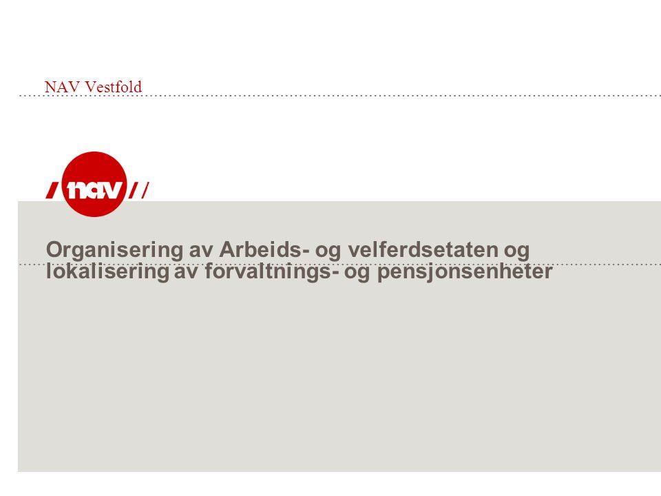 NAV Vestfold Organisering av Arbeids- og velferdsetaten og lokalisering av forvaltnings- og pensjonsenheter.