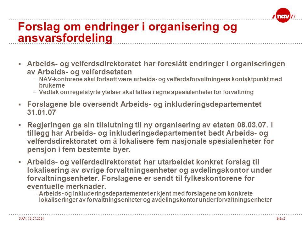 Forslag om endringer i organisering og ansvarsfordeling