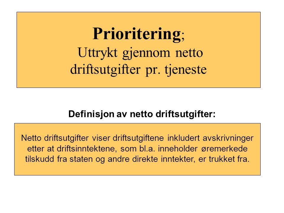 Prioritering; Uttrykt gjennom netto driftsutgifter pr. tjeneste