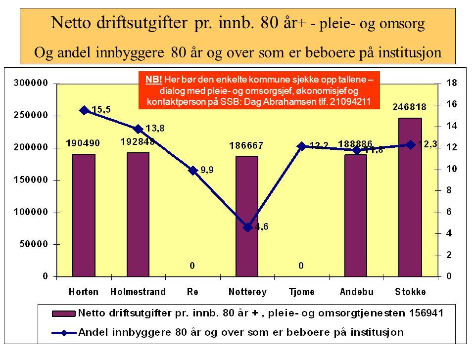Netto driftsutgifter pr. innb. 80 år+ - pleie- og omsorg