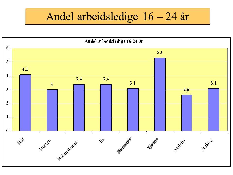 Andel arbeidsledige 16 – 24 år